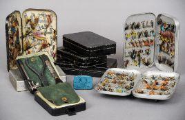 Hardy Bros. Ltd., Berard & Son, Ogden Smith, Allcocks, Wheatley and others, nine metal fly tins