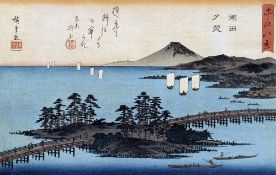 JAPANESE SCHOOL (18th/19th century) River Landscape Woodblock print Variously signed; together