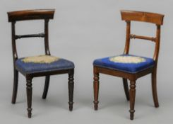 A set of eight early Victorian rosewood dining chairs Each curved top rail above twin carved capital