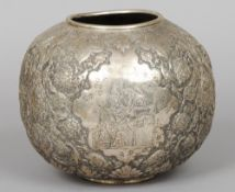 A Persian white metal vase, hallmarked for Isfahan and 81% purity mark Of spherical form,
