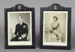 HM The Queen and HRH The Duke of Edinburgh, black and white print signed photographs The latter