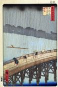 UTAGAWA HIROSHIGE (1797-1858) Japanese A Sudden Shower Over Ohashi and Atake Woodblock print from