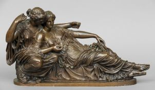 A 19th century patinated bronze classical figural group Modelled as a recumbent lady and her suitor.