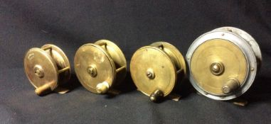 Four Victorian trout fly reels by Farlow, Army & Navy, Miller and another CONDITION REPORTS: