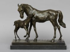 Mare and Foal Bronze, standing on a plinth base Unsigned with Talos Gallery foundry mark 33 cm