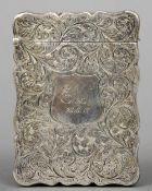 A George V silver card case, hallmarked Birmingham 1911, maker's mark of Robert Chandler, retailed