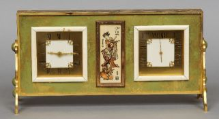 An Art Deco gilt metal cased desk clock and barometer The square dials intersected with an inset