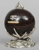 A white metal mounted coconut box  With shell cast finial, supported on a naturalistic cast base,