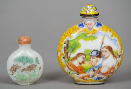 A Chinese enamel snuff bottle Decorated with European scenes; together with a small Chinese glass