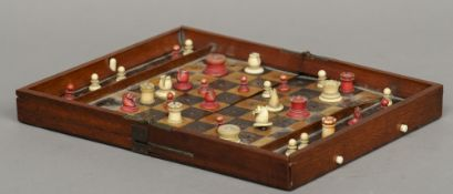 A 19th century Jaques & Son In Statu Quo travelling chess board Variously stamped; together with a