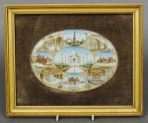 INDIAN SCHOOL (19th century) Indian Views Watercolour on ivory 20 x 14 cm, framed and glazed, oval