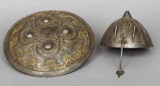 A 17th/18th century Persian Kula Kud Of typical form, with etched silvered decoration; together with