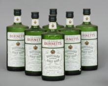 Sir Robert Burnett's White Satin Dry Gin, 26 2/3 fl ozs., 70% proof Six bottles.  (6) CONDITION