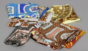 Five silk scarves, all with Harrods printed name,