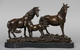 Family Group of Horses Bronze, standing on a marble plinth base Unsigned 26 cm high CONDITION