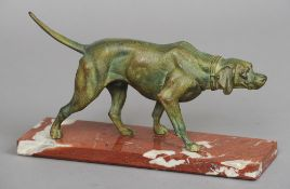 An early 20th century patinated bronzed model of a pointer dog Naturalistically modelled, standing
