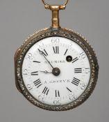 A 19th century Swiss enamel decorated and diamond set pocket watch The diamond set bezel surrounding