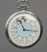 A small pocket watch The enamel dial decorated with playing cards.  4.75 cm diameter. CONDITION