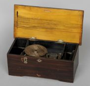A late 19th century Helvetia disc music box The simulated crossbanded top centred with a fan