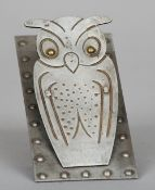 An early 20th century German polished steel letter clip Formed as an owl.  14 cm high. CONDITION