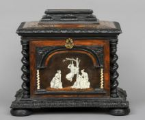A 19th century Continental tortoiseshell, specimen wood and ivory inlaid table cabinet The hinged