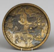 A late 19th century Japanese wall charger Decorated with various figures and Samurai warriors, the