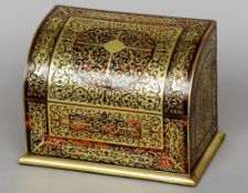 A 19th century boulle stationery box, retailed by J.C. Vickery, Regents Street The hinged domed
