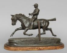 JULES BENNES (flourished second half of 19th century) French Galloping Horse with Jockey Up