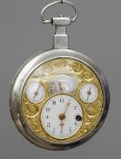 An unusual French unmarked silver multi-dial pocket watch The enamel and silvered dials set