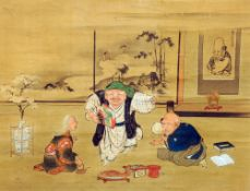 A 19th/20th century Chinese painting on silk Depicting figures in an interior, framed and glazed.