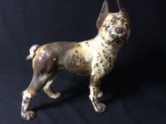A cold painted cast iron doorstop Modelled as a French bulldog.  25 cm high. CONDITION REPORTS: