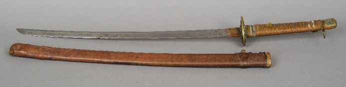 A Japanese officers sword Of typical form with bound shagreen hilt and leather scabbard.  88 cm long
