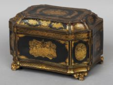 A 19th century Chinese Export lacquered tea caddy Typically decorated with chinoiserie vignettes,