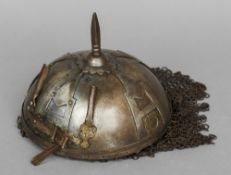 An Indo-Persian Kulah-khud helmet  Of typical form with spike, chainmail and applied Katar