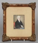 ENGLISH SCHOOL (19th century) Portrait Miniature of a Gentleman Sat at a Writing Desk Watercolour