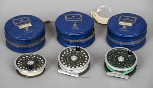 Hardy Bros. Ltd, two Marquis 8/9 reels together with a spare spool All in Hardy cases. CONDITION