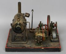 An early 20th century Marklin working steam stationary engine With applied Marklin label dated 1936.