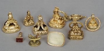 Nine various yellow metal and hardstone seals The matrices variously carved with crests, initials,