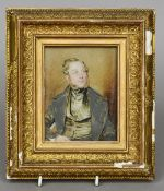 ENGLISH SCHOOL (19th century) Portrait Miniature of a Gentleman With Sideburns Watercolour on