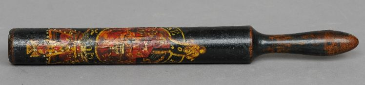 A George III turned wood policeman's truncheon Polychrome decorated with the crest of the Order of