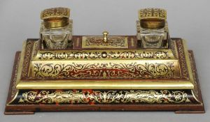 A 19th century boulle desk stand, retailed by J.C. Vickery, Regents Street Fitted with a pair of