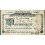Australian Defence Canteens Service, a canteen order for 5/-, 1943, serial number V 585067, black