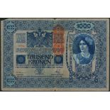 Austro- Hungarian Bank, a group comprising 100 (7) and 1000 (4) kronen, 1919 with red