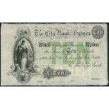 (†) City Bank, Sydney, printer's archival specimen £10, 26 January 1869, serial number run B7001