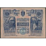 Austro-Hungarian Bank, 50 kronen, 2 January 1902, series 1354, number 52162, blue on pink paper,