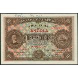(†) Banco Nacional Ultramarino, Angola, printer's archival specimen 10 Escudos, 1 January 1921,