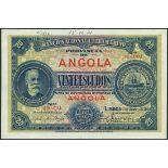 (†) Banco Nacional Ultramarino, Angola, printer's archival specimen 20 Escudos, 1 January 1921,