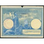 Imperial Reply Coupon, Australia, selling 3d Price, blue and pale orange, Britannia at left,