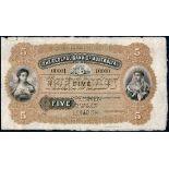 Federal Bank of Australia, printers archival specimen £5, 1 June 18-, serial number 00001-10000,