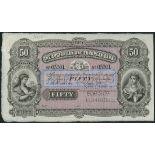 (†) Australian and European Bank Limited, specimen, £50, Melbourne, 1 June 18-, serial number 05301,